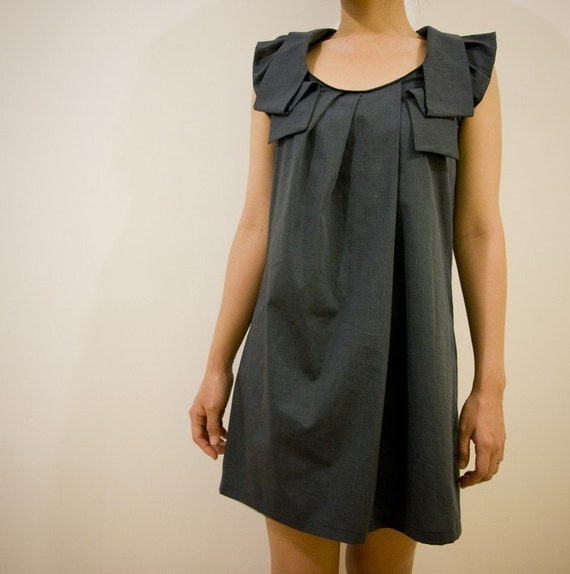 LEMONSTORY Shirt Dress in Dark Denim Teal Blue