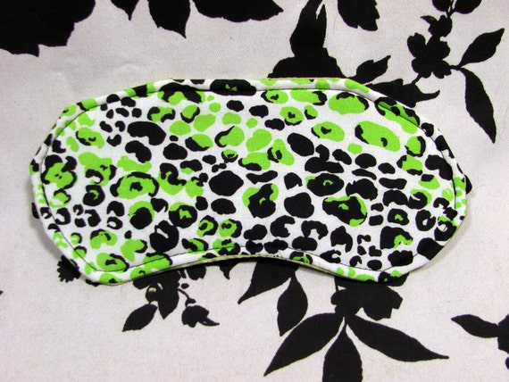 Green And Black Leopard Silk Satin Backed Blindfold Sleep Mask - Warning Label Creations