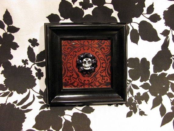 Framed Black and Red Victorian Brocade 3D Skull Cameo Art - Warning Label Creations