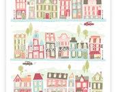 HAPPYLAND - nursery art print, baby girl, room decor, children's wall art, girl, illustration, pink, print, house, houses, village, map