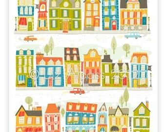 Town print prints house houses illustrations illustration Nursery art children's kids buildings street village lime orange blue green