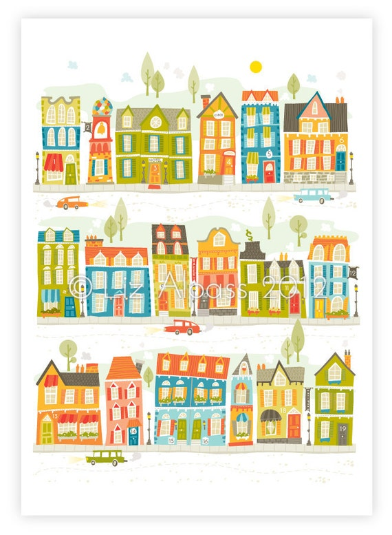 Items Similar To Town Print Prints House Houses