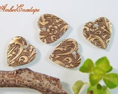 Trinity Embossed Floral Heart. 4 pcs. F802-AG