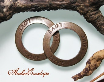 Trinity Vintage Patina Love Affirmation Ring. 2 pcs. F578-VP
