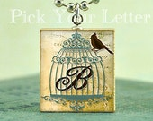 Buy 2 Get 1 Free- Scrabble Tile Art Pendant - BIRD CAGE MONOGRAM - PICK  YOUR LETTER - Handmade by Its All About The Print