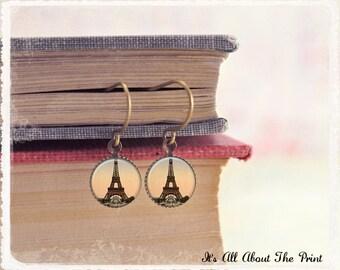 Art Photo Jewelry - Antique Bronze Earrings - Eiffel Tower