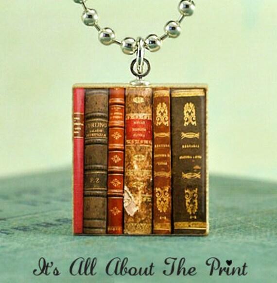 Scrabble Necklace Pendant Charm - VINTAGE BOOKS - Jewelry Art - handmade by Lisa Owens