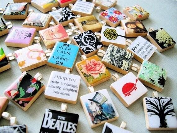 FREE SHIPPING - 5 FOR 25 DOLLARS- Scrabble Tile Art Pendants --YOU PICK