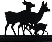 Deer Family Hand-cut Wood Handmade Display Silhouette Decoration  sawn003