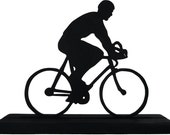 Male Bicycle Rider Handmade Wood Display Silhouette Decoration  strb004