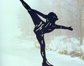 Female Figure Skater Handmade Decorative Display Wood Silhouette   sptw003