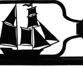 Sailing Ship In A Bottle Handmade Decorative Figure Wood Silhouette  sntl008