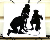 Boys Playing Marbles Handmade Paper Cut Silhouette Wall Hanging  pscld01
