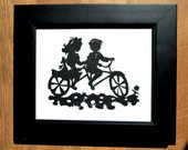 Boy and Girl on a Tandem Bicycle Handmade Paper Cut Wall Hanging  pscld10