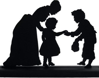 Woman, Child and Beggar Victorian Style Handmade Silhouette Decoration   sgrp001