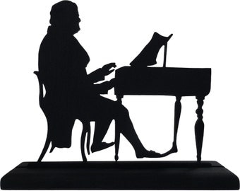Man Playing the Piano Handmade Wood Decorative Display Silhouette  smen005