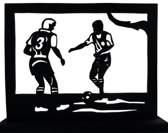 Soccer (Football), Two Players Maneuvering For the Ball Handmade Wood Display Silhouette  sptc001