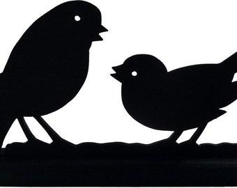 Pair of Sparrows Handmade Wood Display Silhouette Decoration - SBIR003