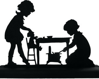 Two Girls Playing Kitchen Handmade Wood Display Silhouette Decoration - SCLD015