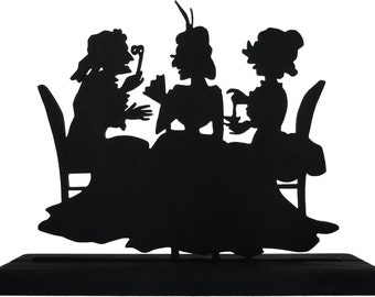 Three Ladies Talking at Tea Time Handmade Decorative Wood Display Silhouette  swmn003