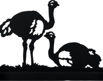 Pair of Ostriches Handmade Wood Silhouette Decoration - SBIR016