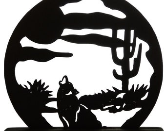 Coyote in the Desert Handmade Wood Display Silhouette Decoration - SAWN016