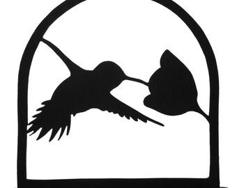 Hummingbird Sampling a Flower Handmade Wood Display Silhouette - SBIR018