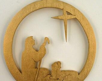 Shepherd Looking at a Star Christmas Gold Hanging Handmade Wood Ornament  XNAT03