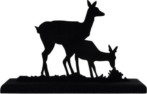 Pair of Deer Decorative Handmade Wood Display Silhouette - SAWN007