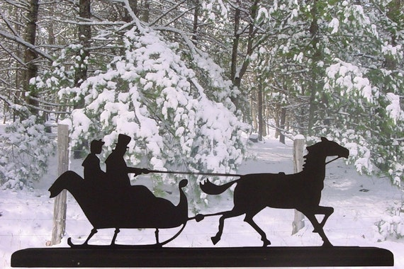 Couple On a Sleigh Ride Handmade Wood Silhouette Decoration  scpl007