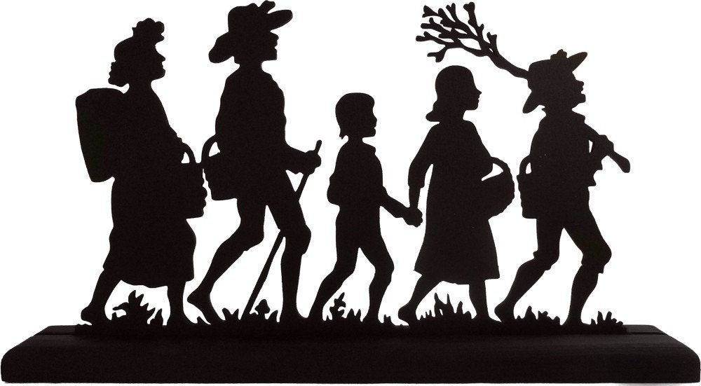 Family Hiking Outing Handmade Wood Display Silhouette