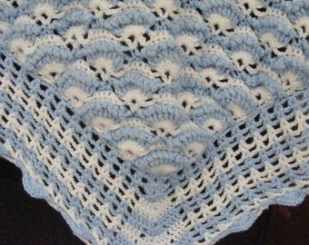 Bundle of Joy Baby Blanket --blue/white