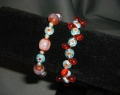 Red and Blue Millefiori and Chevron Stretch Bracelet Pair
