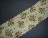 Vintage Yellow Whimsey Fabric Ribbon 2 yards teddy bears with pink roses