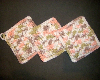 Tumbleweed - Three Bumpy Cotton Washcloths Dishcloths, handmade crochet washcloth set