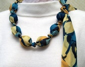 Nature Walk, A Fabric Beaded Necklace from an Upcycled Scarf in Teal, Blue, Green and Yellow