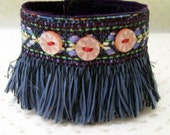 Blue Duster, A Wrist Cuff or Fabric Bracelet with Blue Fringe