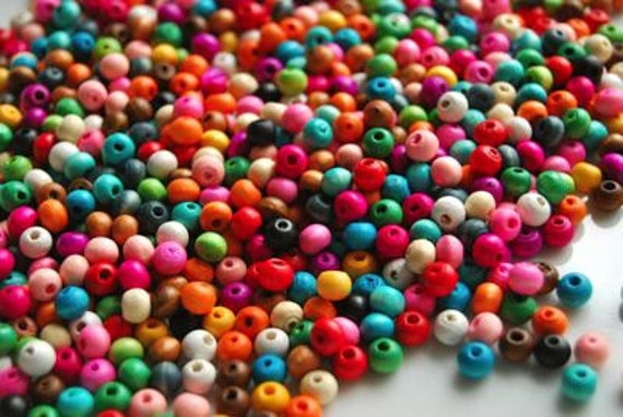 100 Mixed Pack 6mm Round Beads . multi colored wood . ref.140075