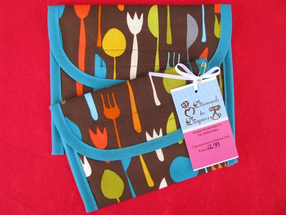 Utensils Reusable Lunch Bag Set of 2 - Snack and Sandwich Size