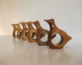 70's Modern Wooden Bird Napkin Rings