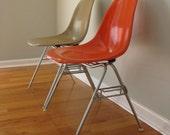 Eames Side Shell Chair Red Orange (Stacking Base) Herman Miller