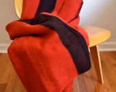 Red and Black Stripe Wool Camp Blanket (84 x 72)