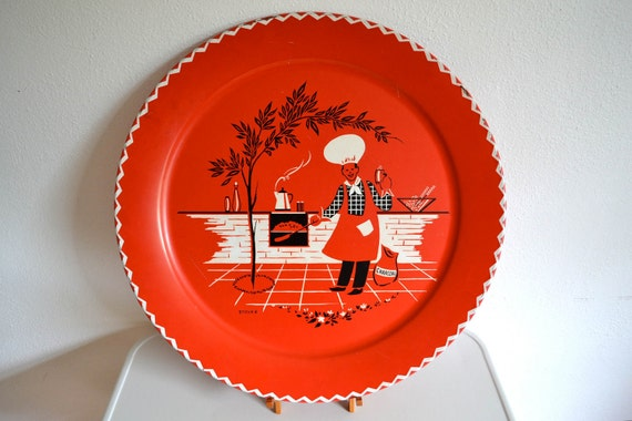 "Huge 19"" Red Mid Century Cookout Tray by Marcelline Stoyke"