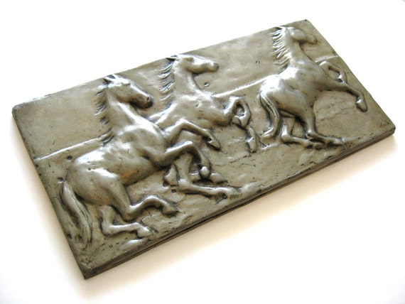 Bronze High-Stepping Horses Relief Wall Tile (6 x 12 ) MMc Art Tiles