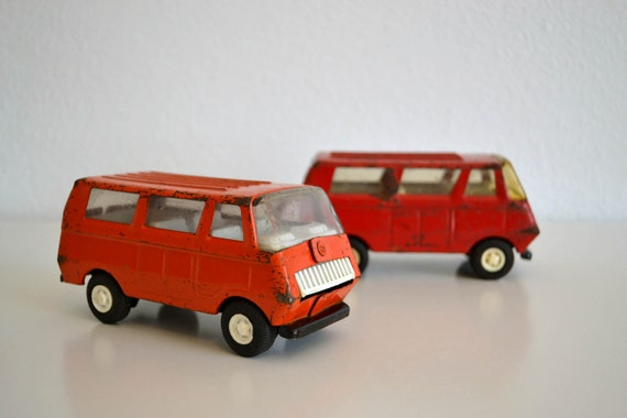 Retro 1960's Tonka Toy Van Pair - Red and Orange Vans