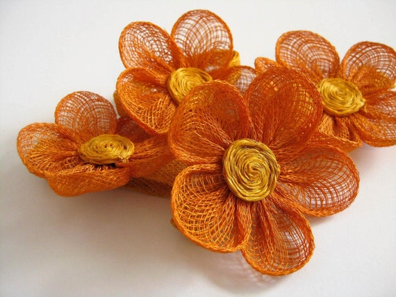 Orange Jute Flower Napkin Rings