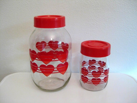 Retro Heart Canister Set by Carlton Glass