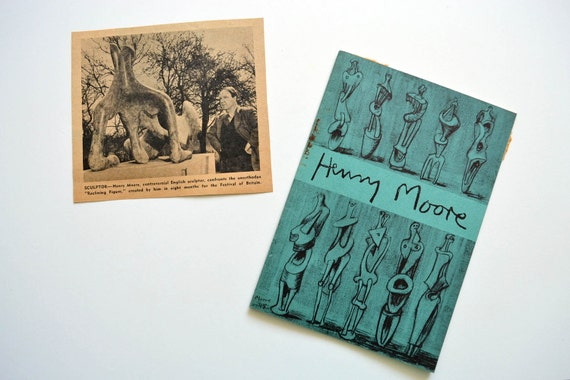 1951 Henry Moore Exhibition Guide Buchholz Gallery & Newspaper Clipping