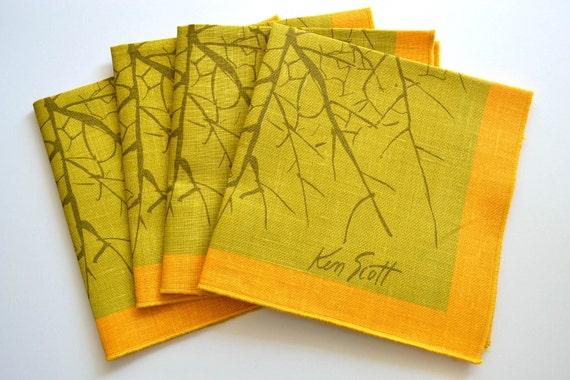 Beautiful Ken Scott Linen Cloth Napkin Set Pear Green / Yellow  Branch - Set of Four Napkins - Mid Century