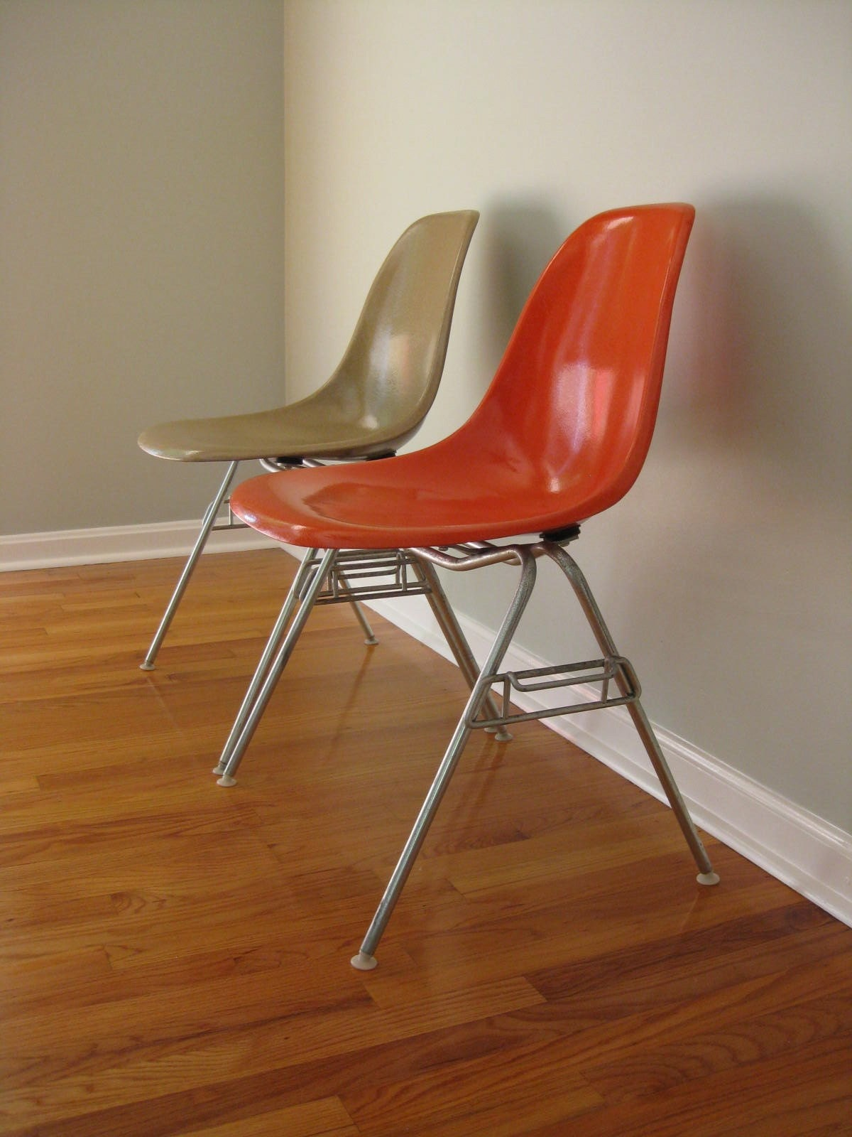Eames Side Shell Chair Red Orange Stacking Base Herman